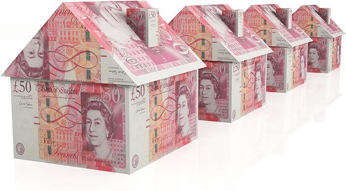 Houses Made of Pound Sterling.