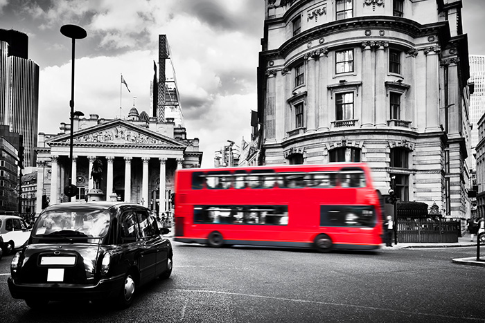 Red Bus in front of the Bank of England.